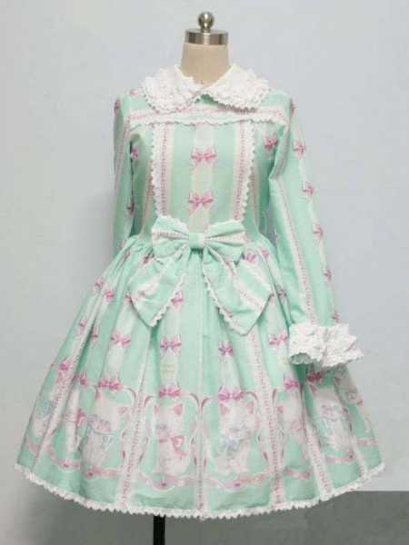 Whimsical Printed Bow Rococo Lolita Dress