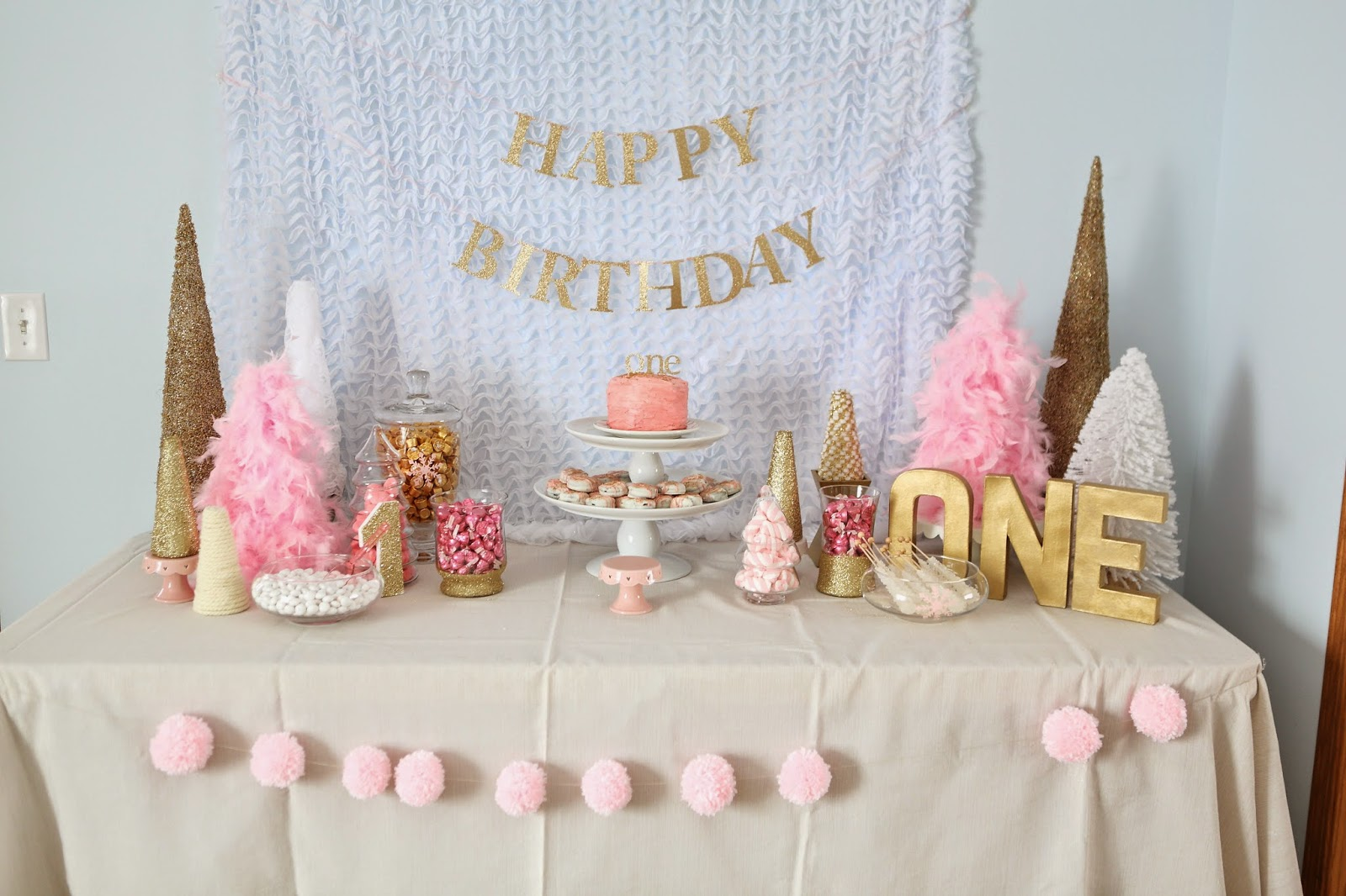 Decorating the Dorchester Way: Pink and Gold Winter Wonderland First Birthday Party