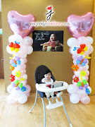 Balloon Columns for Chloe's Birthday Party. The party held at Savannah Condo (balloon columns for baby girl)