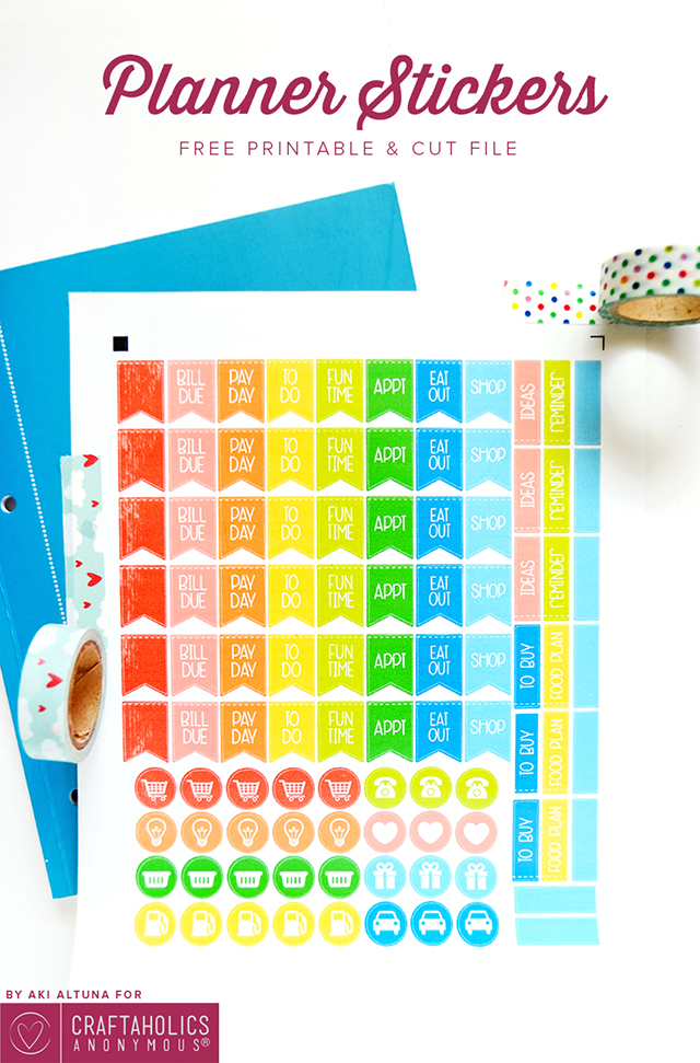 Free planner stickers cut file at craftaholics anonymous for Planners anonymous