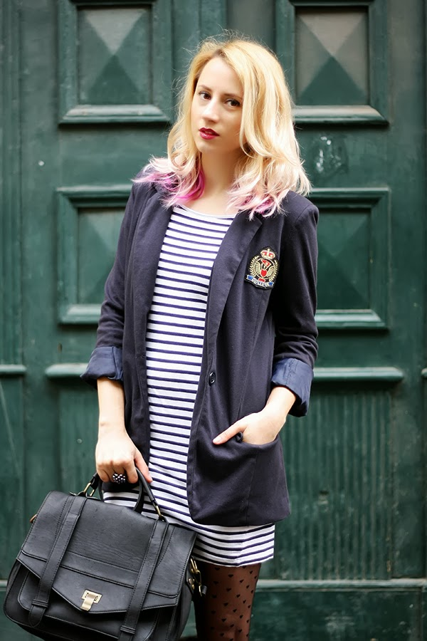 college blazer stripped dress hearts tights