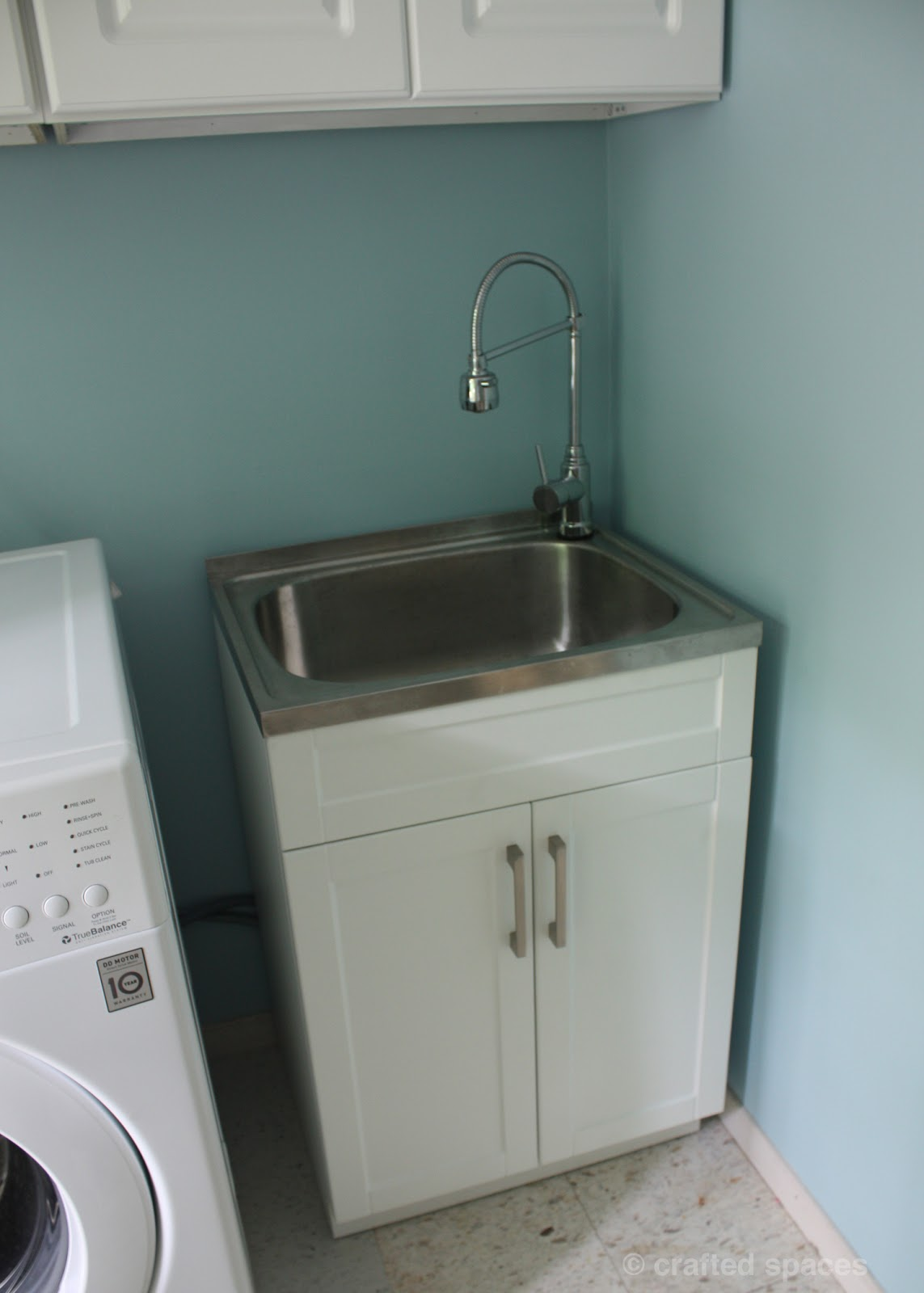 Laundry Cabinet And Sink : We were really happy to get this wonderful sink. It is deep enough to ...