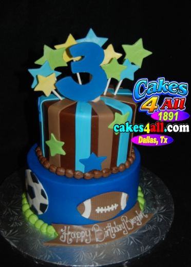 Happy 3rd Birthday Sports Theme Cake Dallas 2540 Marshln Suite 146 Carrollton Texas Zip 75006