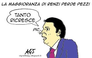 Renzi, maggioranza, senato, vignetta satira