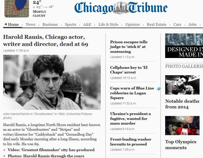 http://www.chicagotribune.com/entertainment/chi-harold-ramis-dead-20140224,0,2259309.story