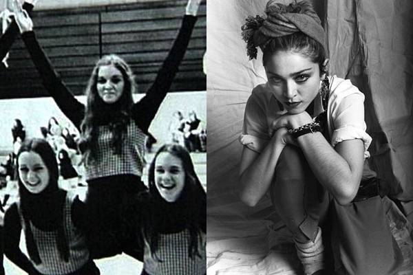 Madonna — Even in high school Madonna was smug. Look at the two girls holding her—they have huge smiles. Madonna? Nope. Just a wry grin.