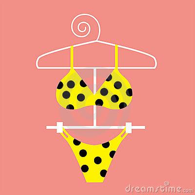 Picture polka dot yellow Bikini