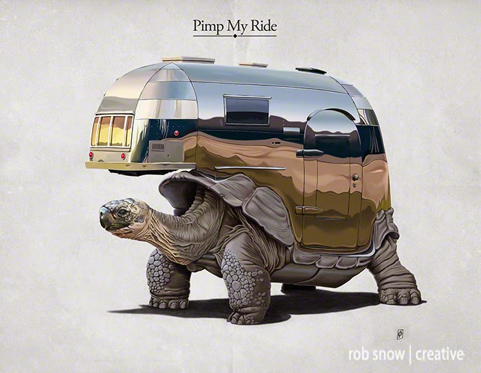17-Pimp-My-Ride-Rob-Snow-Animal-Illustrations-Play-on-Words-www-designstack-co