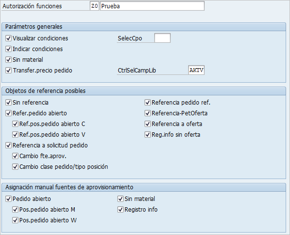 Autorización de funciones de pedido SAP