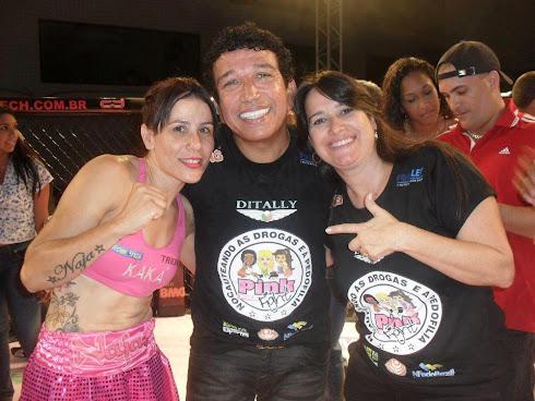 Kaka Naja, Senador Magno Malta ( Incentivador e idealizador do Pink Fight) e Marta Lança ( Produçã