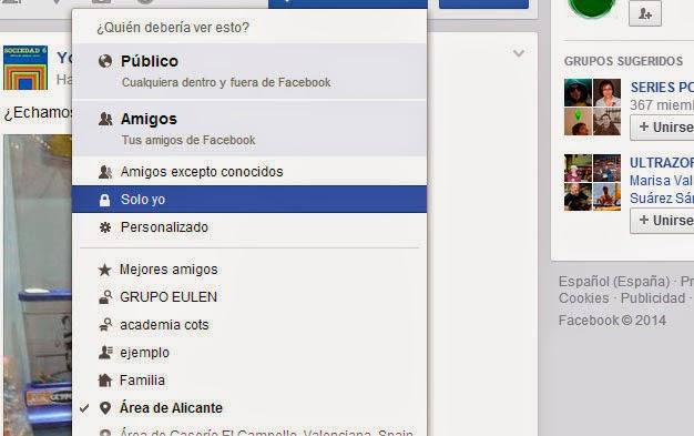 ocultar en facebook