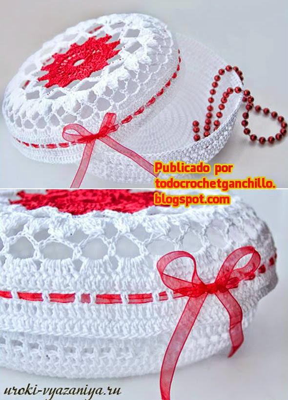 Caja circular cilíndrica tejida con crochet