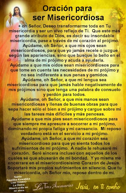 oracion para ser misericordioso escrita por santa fauistina