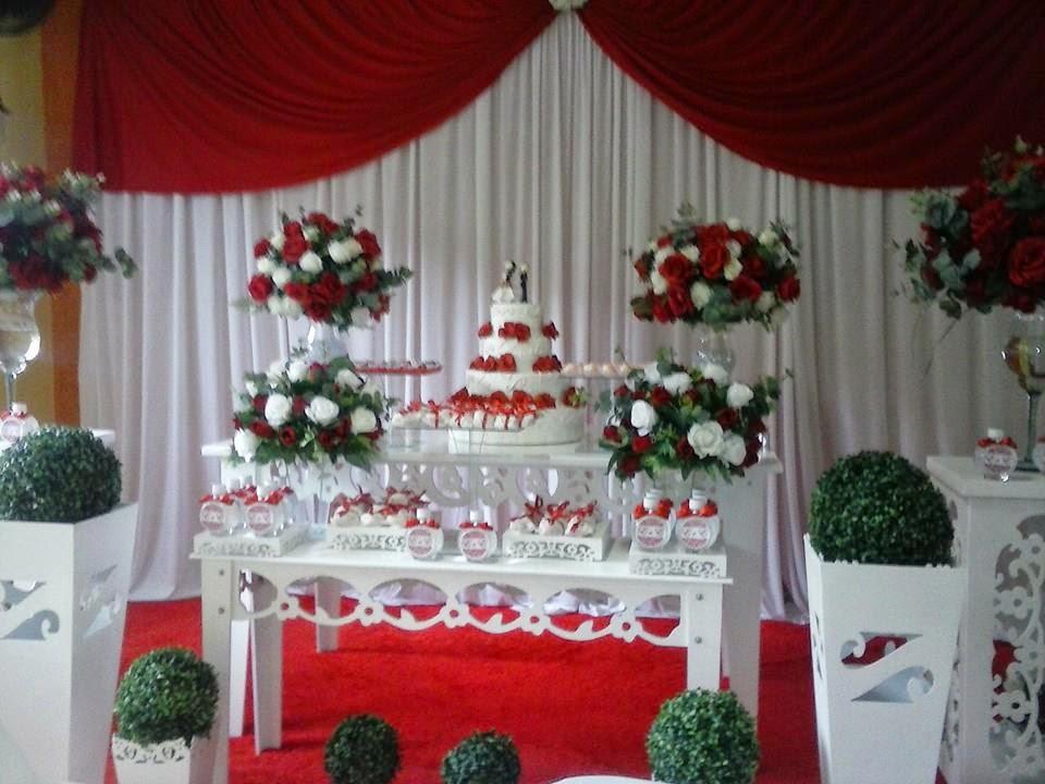 Dani Festas Fantasy  Decoração Casamento vermelho e branco