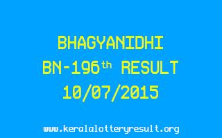 BHAGYANIDHI BN 196 Lottery Result 10-7-2015