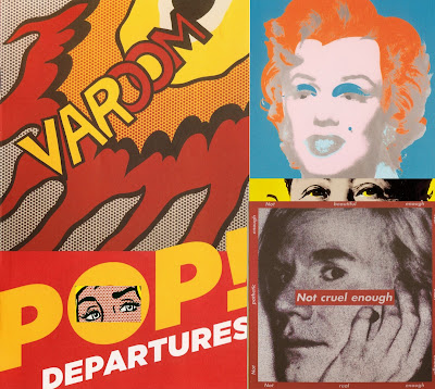 POP Departures Collage with bits of work by Roy Lichtenstein, Andy Warhol, and Barbara Kruger