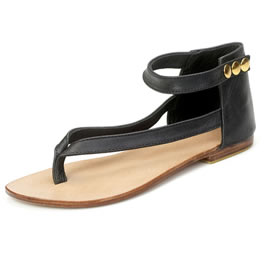 mogil black leather charm flat sandal - Black flat sandals