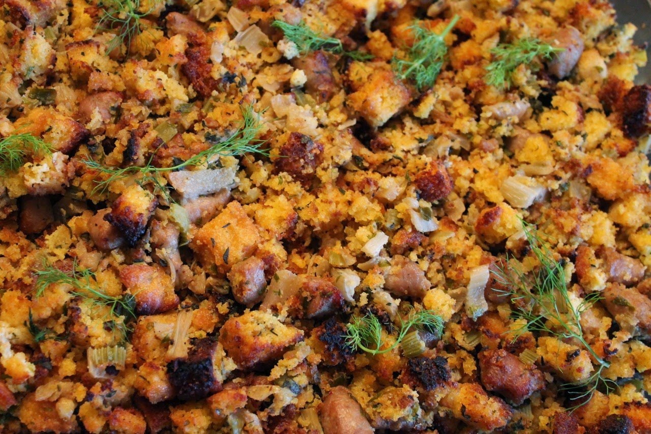 Corn Bread Stuffing with Sausage and Fennel