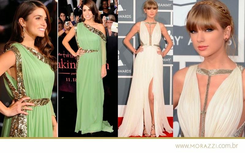 Muitas celebridades - como a Taylor Swift - Se inspiram na Moda Grega e na Moda Romana para arrasarem nos Red Carpets. São vestidos trabalhados, com plissados e bordados que remetem claramente as vestimentas da Grécia Antiga. Um arraso!
