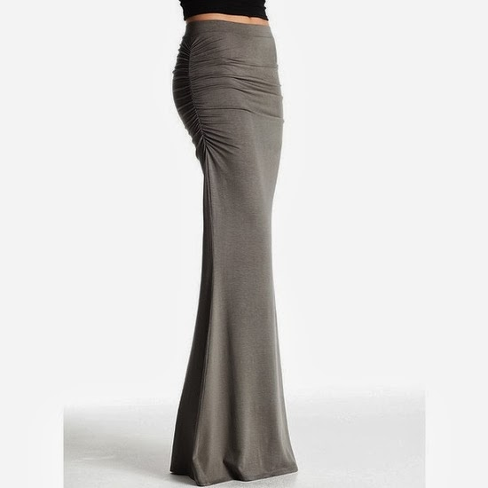 Ruched gorgeous maxi skirt fashion trend