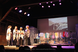 "Depot Theatre, Westport, NY. ""THE BIKINIS"" Created and written by Ray Roderick and James Hindman. Directed by Katy Blake. Cast: Jane Cooke, Annie Edgerton, Johnetta Alston Lake, Jeneen Terrana. Set by Bonnie Brewer. Lights by Margaret Swick. Sound by Jim Carroll. Stage Manager: Sarah Overturf. Photograph by Overtime Photography."