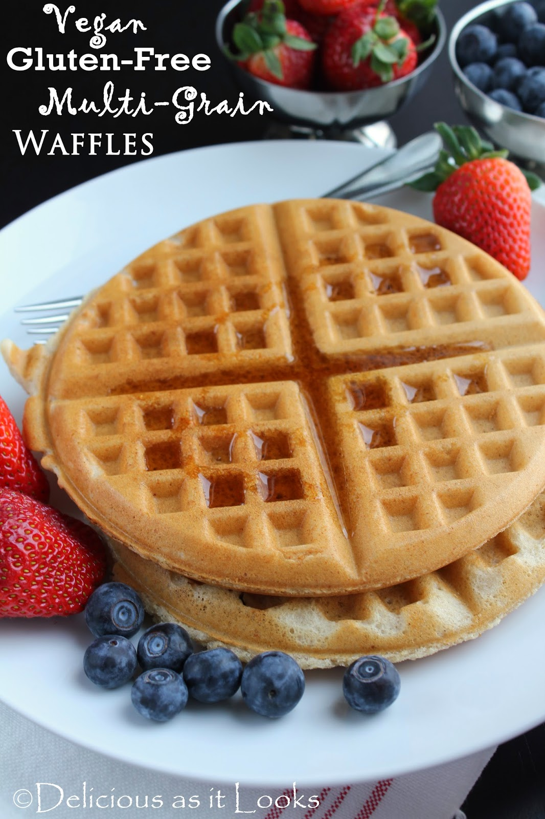 Vegan Gluten-Free Multi-Grain Waffles {also Low-FODMAP}  /  Delicious as it Looks