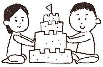 砂のお城のイラスト「男の子と女の子」 線画