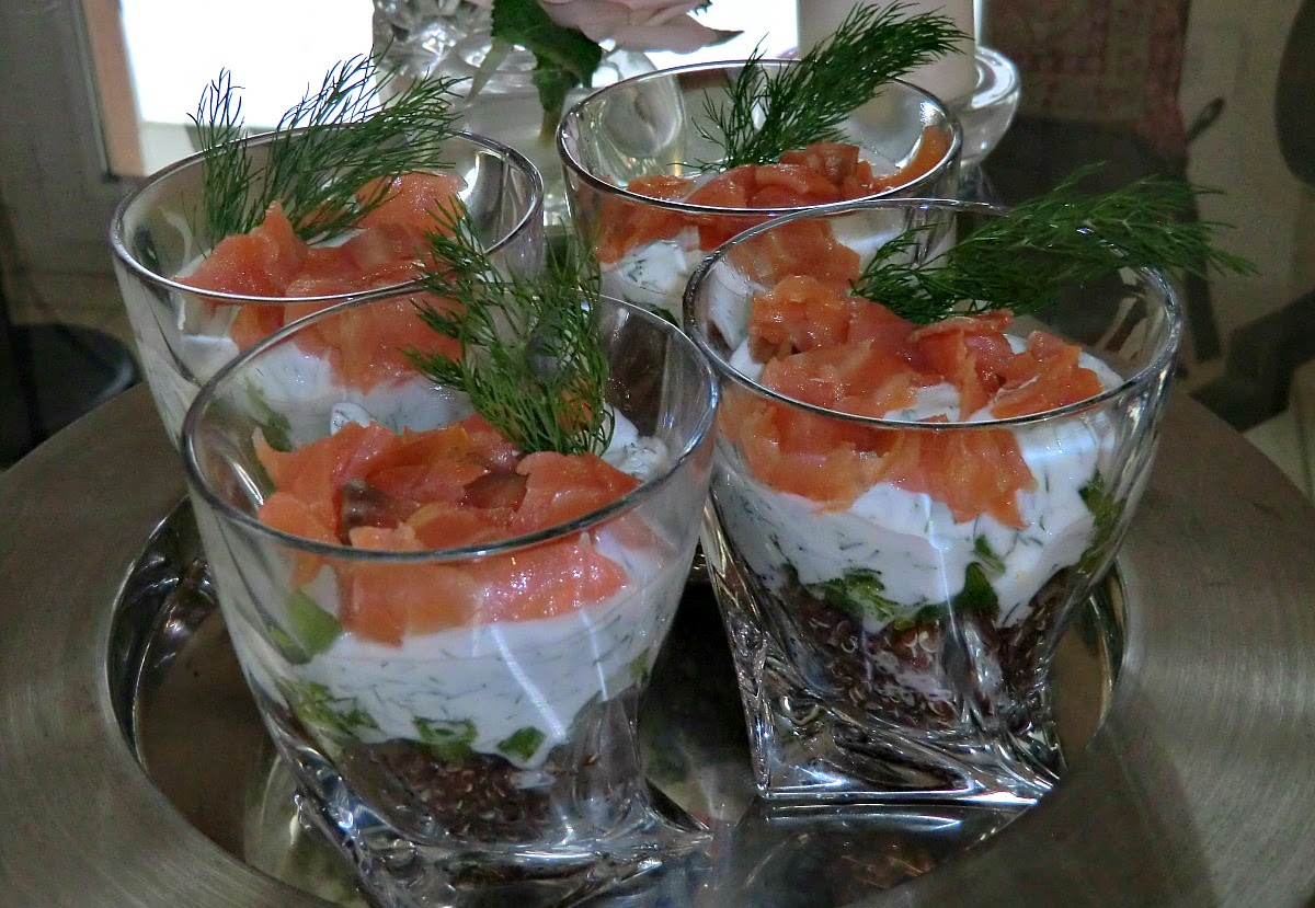 Verrine of smoked salmon fromage blanc peppers and quinoa