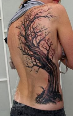 Old tree tattoo on back body