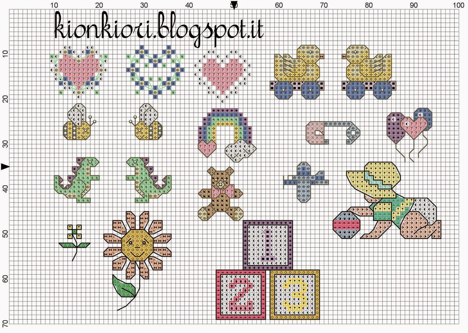 kionkiori punto croce lucia e le decorazioni dei bavaglini