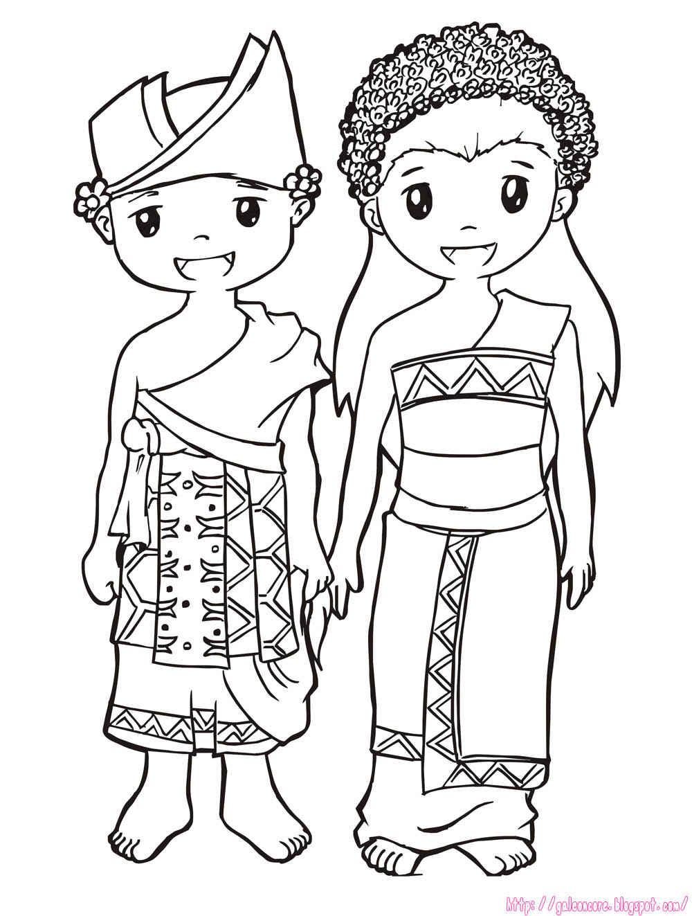 Rumah Adat Dan Pakaian Adat Bali baju adat bali sketch coloring page