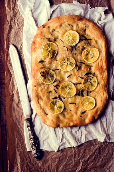 Focaccia with Meyer Lemons, Sea Salt and Rosemary