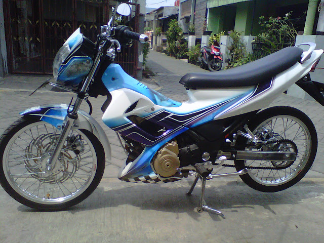 modifikasi airbrush satria fu blue fannel