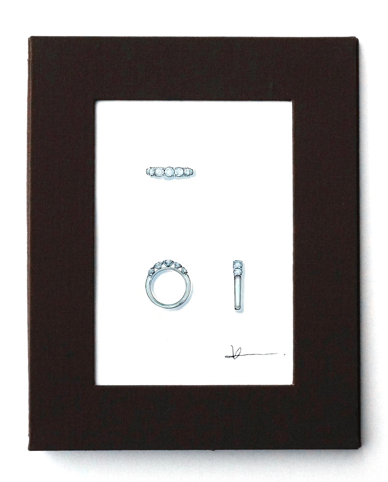 岡田訓明が描いたダイヤモンドリングのデザイン画