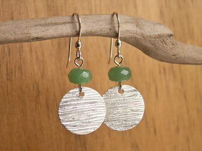 textured silver disc earrings with green aventurine stone accent by Jennifer Kistler