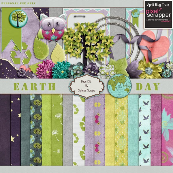 "PixelScrapper blogtrain ""Earth Day"" by Digi Eye Scraps"