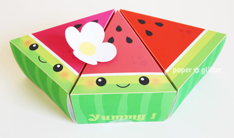 sc 1 st  Paper Glitter & Printable Watermelon u201cCakeu201d Slices Favor Boxes Aboutintivar.Com