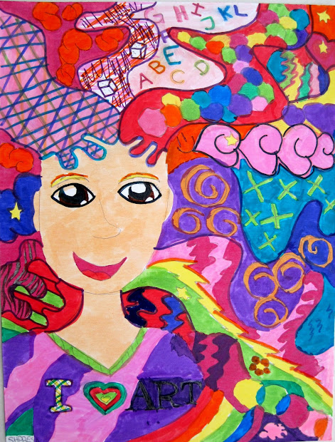 art class ideas crazy hair portraits