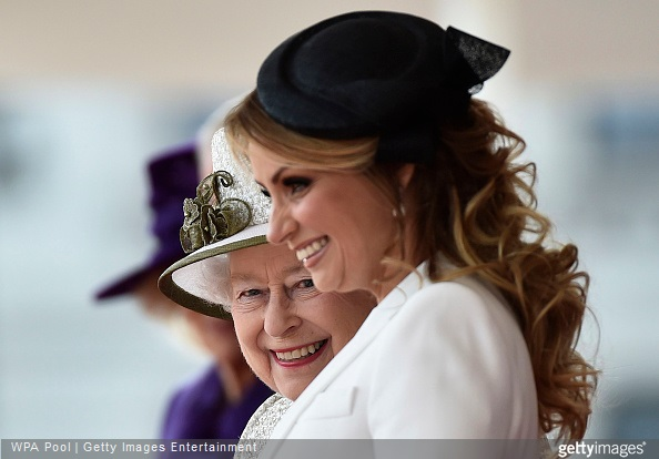 Queen Elizabeth II stands with Angelica Rivera, the wife of Mexico's President, during a ceremonial welcome at Horse Guards Parade during a ceremonial welcome for the State Visit of The President of The United Mexican, Senor Enrique Pena Nieto and Senora Rivera at Horse Guards Parade