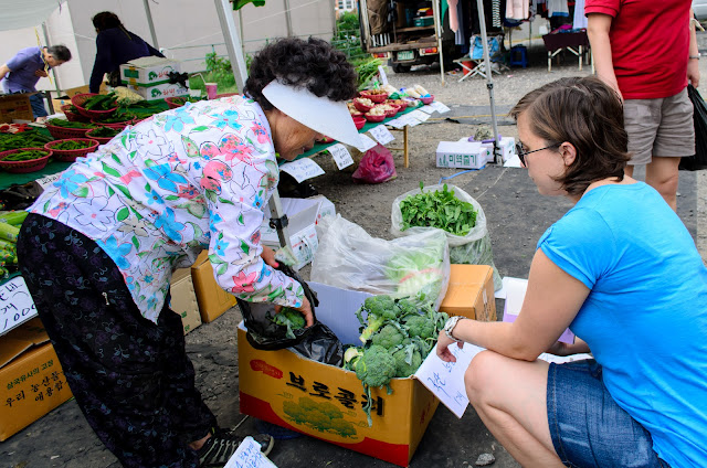 Buying vegetables and groceries in Pohang