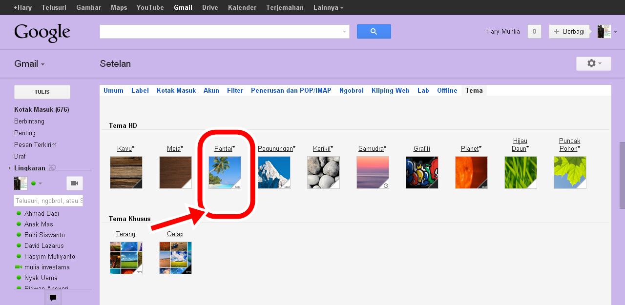 Gmail default theme - Mengganti Tema Tampilan Pada Gmail