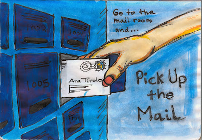 Mail Pick-Up from Mail Room, Watercolour with Ink by Ana Tirolese ©2012