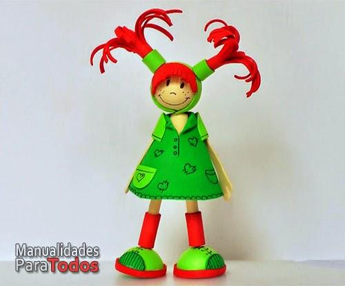 Manualidades para todos: Fofuchas - Muñecas de goma eva.(foamy)