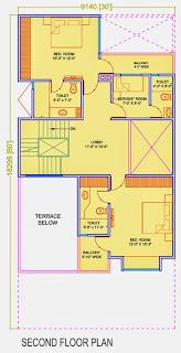 Golf Country, Yamuna Expressway :: Floor Plans,Golf Villa (200 sq. yd.):- Second Floor Plan Plot Area: 1131.72 Sq. Ft.