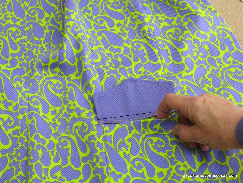 como coser bolsillos con cartera