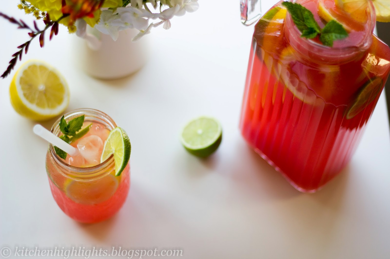 Watermelon lemonade is an all-natural vibrant summer drink with a perfect balance between sweet and tart and with a subtle flavor of mint