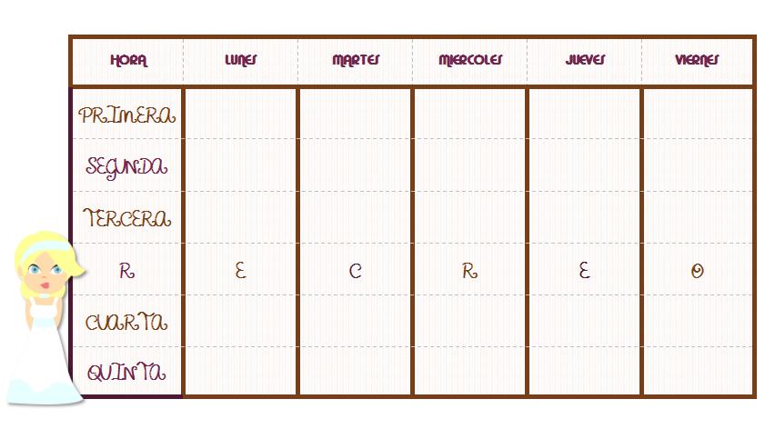 formatos de horarios para imprimir