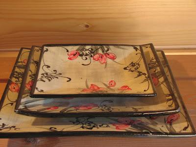 poterie de l 39 auraude assiette carr e pr sentation plate dessert. Black Bedroom Furniture Sets. Home Design Ideas