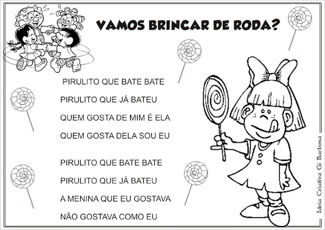 Cartazes Ilustrados Cantiga de  Roda Pirulito QUE BATE BATE