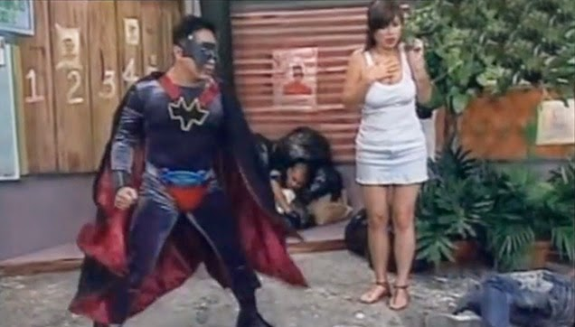 Michael V. as a superhero saving Francine Prieto from the bad guys.
